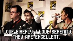 """Question: """"Is it true the reason you wear a brown coat in the show is because you're a fan of Firefly?"""" Just strengthening my love of David Tennant!"""