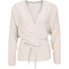 Filippa K Silk Wrap Blouse featuring polyvore, fashion, clothing, tops, blouses, angel, blouses & shirts, womens-fashion, vneck shirts, oversized shirt, pink blouse, wrap around shirt and shirts & blouses