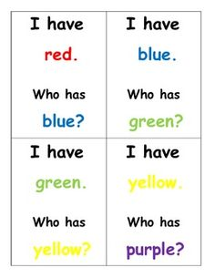 FREEBIE! I Have Who Has Color Word Game (separate English and Spanish sets)