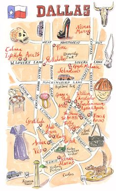 Dallas shopping map for Lucky Magazine - dallas • mappery