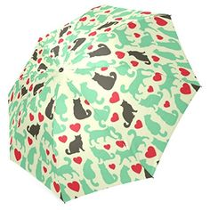 InterestPrint Green Cat Red Heart Love Foldable Travel Rain Umbrella *** You can find more details by visiting the image link. (This is an affiliate link and I receive a commission for the sales)