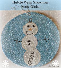 Bubble wrap snowman snow globe