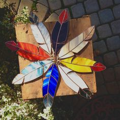 Large Handmade Stained Glass Feathers by BohemianGlassArt on Etsy