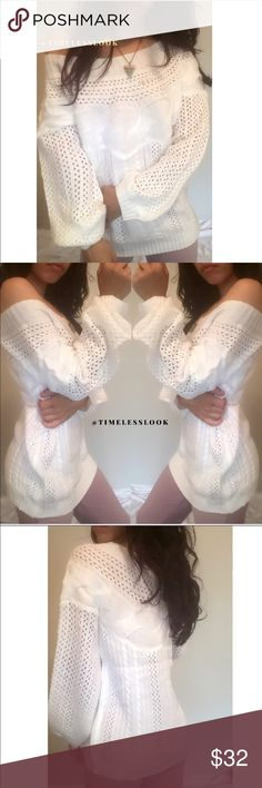 """Loungy white cable knit hollow sweater •brand new  •ships tomorrow •brand : TIMELESS look boutique  •no trades  •true to size  - loungy fit •material: thick woven cotton poly mix  Perfect with jeans shorts skirts super cute perfect to pair around many items   Model: goguios in insta 📸 (account manager) modeling Small - - pic 4 medium   Please visit """"Closet Rules"""" for more info about us :) Sweaters Crew & Scoop Necks"""
