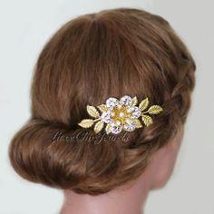 Woodland Garden Golden Brass Flower Leaves Hair by LuxeChicJewels