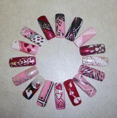 My nail art wheel. Valentine Nail Art, Holiday Nail Art, Christmas Nail Designs, Christmas Nails, Valentine's Day Nail Designs, Nail Polish Designs, Cute Nails, Pretty Nails, Nail Art Wheel