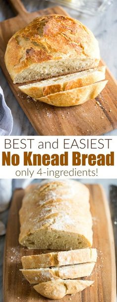 A step-by-step tutorial for making No Knead Bread This quick and easy bread dough recipe is homemade artisan bread that requires no kneading quick easy wholewheat addins recipe nokneadbread artisanbread tastesbetterfromscratch via betrfromscratch Artisan Bread Recipes, Yeast Bread Recipes, Quick Bread Recipes, Cooking Recipes, Easiest Bread Recipe, Homemade Bread Easy Quick, Bread Food, Homemade Recipe, Homemade Breads