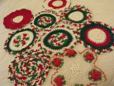"Vtg Lot 9 Christmas Holiday Red Wht Green Handmade Crochet Doilies 10-12"" Round"