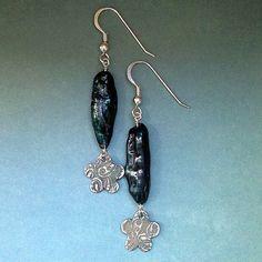 Fine Silver & Stick Pearl Earrings  teal by LindaMackSilver, $55.00