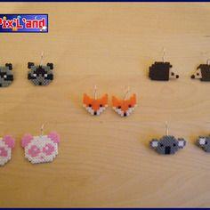 Boucles d'oreille animaux unitaire en perle hama mini