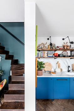 Tour a Tiny House in London's Brixton Full Of Clever Space-Saving Ideas Ikea Small Bedroom, Guest Bedroom Office, Dark Kitchen, Low Ceiling, Living Room Pendant, House, Ikea Bedroom Decor, Blue Kitchens, Maximalist Interior