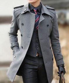 Dark suit, dark shirt