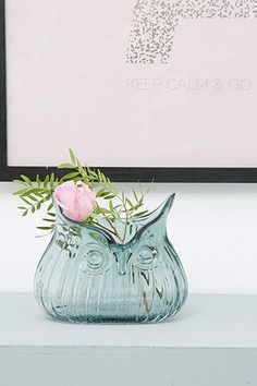 Grey Glass Owl Vase - Urban Outfitters