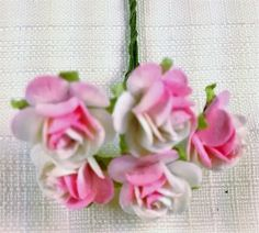 FF-109 $1.25 two Tone Pink and White Paper Roses