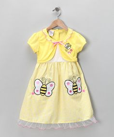 Take a look at this Yellow Bumblebee Seersucker Dress - Infant, Toddler & Girls by Gingham Girl: Spring Dresses on #zulily today!