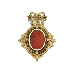 Gold, carnelian and diamond pendant, early 19th century