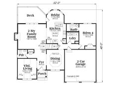 First Floor Plan of House Plan 72611