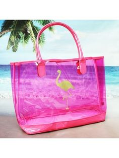 This colorful tote is perfect for the beach or pool! Personalization will be placed on back. Faux Patent and PVC Construction * No Closure * Double Handles with Drop * Tall x Wide (Bot Let's Flamingle, Wholesale Purses, Beach Weather, Vinyl Projects, Back In The Day, Spring Break, Purses And Handbags, Flamingo, Beach Bags