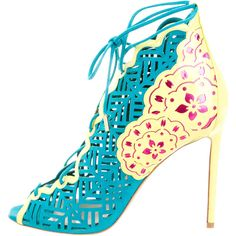 Pre-owned Nicholas Kirkwood Stencil Lace-Up Pumps ($375) ❤ liked on Polyvore featuring shoes, pumps, blue, blue peep toe pumps, lace up pumps, nicholas kirkwood shoes, cutout pumps and lace up shoes