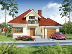 Zaprojektowano go zgodnie z zasadą podziału na strefę dzienną i nocną. Modern Bungalow House, Roof Plan, Backyard Projects, Small House Plans, Simple House, House Colors, Architecture Design, Pergola, Villa