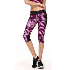 3D Digital Print  Rose Red Zebra Capri Sport Legging women High Quality High Waist 1038