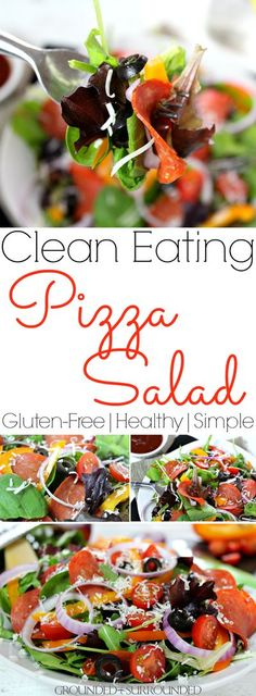 The BEST Clean Eating Pizza Salad | This is one of my favorite healthy and low carb lunch ideas! It is a delicious gluten free recipe complete with turkey pepperoni for protein, homemade tomato-based dressing, shredded Parmesan cheese, and veggies. Meals like this are great for one or families. Just pile high the toppings on a whole bag of greens and triple the sauce! Give this easy and flavorful salad a try if you are in a food rut! #salad #cleaneating #glutenfree Clean Eating Pizza, Clean Eating Recipes, Healthy Meals For One, Healthy Salads, Healthy Eating, Healthy Pizza, Gluten Free Recipes, Low Carb Recipes, Healthy Recipes