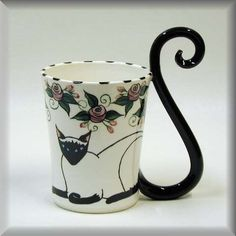 Siamese Cat beaker. Each handcrafted and handpainted mug is signed and numbered by the artist