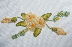 Antique Ribbonwork Ribbon Flower Doll Dress 1920 Silk Millinery Applique (#2)