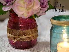 E aqui vemos o detalhe do vaso Bottle Crafts, Dyi, Cool Art, Decoupage, Have Fun, Glass Vase, Sweet Home, Creative, Gifts