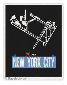 Fly me to New York City JFK - John F Kennedy Airport Code Runway Map World Traveler Series 8x10 Art Print Poster on Etsy, $16.00
