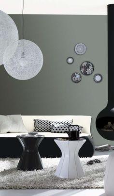 Graue Wand im Wohnzimmer