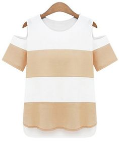 neutral striped  open shoulder tee///