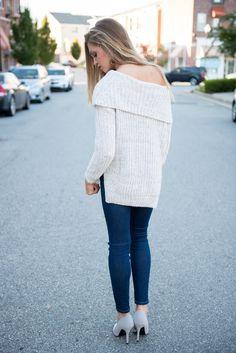 Off shoulder sweater #swoonboutique