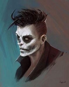 shadowrun; male; human; ganger, painted; dark-haired