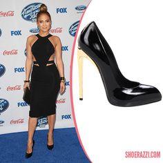 Jennifer Lopez in Giuseppe Zanotti Black Patent Leather Pump with Mirrored Heel - ShoeRazzi