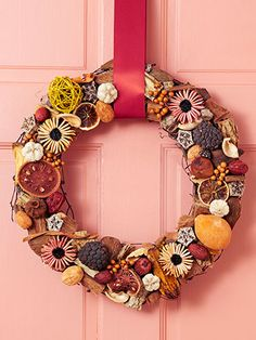 I use green, burgundy and beige potpourri to make nice wreaths for Christmas.  Use smaller wreaths for candle rings.