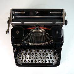 Hermes Media Typewriter (1941) For Sale - My Cup Of Retro Typewriters Modern Typewriter, Working Typewriter, Retro Typewriter, Antique Typewriter, Portable Typewriter, Swiss Design, Just Keep Going, Vintage Typewriters, Black Ribbon