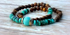 Double Wrap Natural Turquoise Wooden Rounds by Cheshujewelry, $28.00
