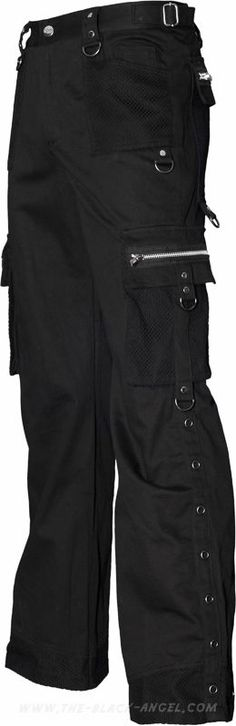 Gothic cargo pants from the Queen of Darkness line of men's clothes, with mesh and eyelet detail.