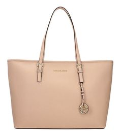19c5ab004aa4 Michael Kors Medium Saffiano Leather Jet Set Travel Tote Oyster for sale  online | eBay