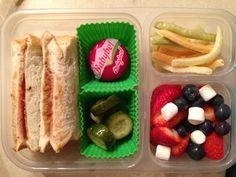 07.01.13 sun butter & jelly sandwich, homemade pickles, baby bell, veggie fries, berries & marshmallows.