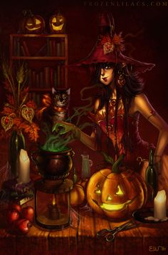 ✯ Bubble Bubble Toil and Trouble :: Artist Emily Warren ✯ Halloween Illustration She's A Witch, Autumn Witch, Fantasy Witch, Witch Art, Fantasy Art, Photo Halloween, Halloween Pin Up, Halloween Painting, Halloween Pictures