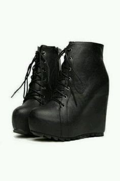 Black ankle lace up wedge
