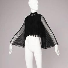 Mollie Parnis Vintage 1960s Black Accordian Pleated Crop Top with Angel Sleeves 4