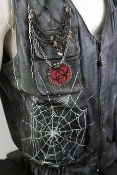 Post Apocalyptic Clothing Hand Painted Leather Vest