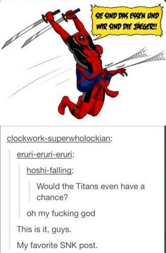 And on that day the titans received a grim reminder, that they lived in fear of Spiderpool xD