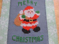 cross stitch Christmas card Merry Christmas Santa