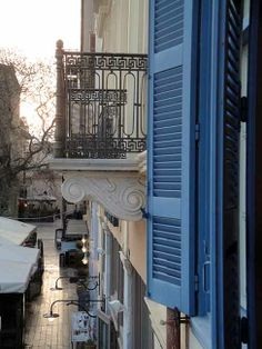 View of Square from the balcony of the suite of Inn in Neoclassical, Old Town, Greece, Traditional, Mansions, Architecture, World, Balcony, Modern