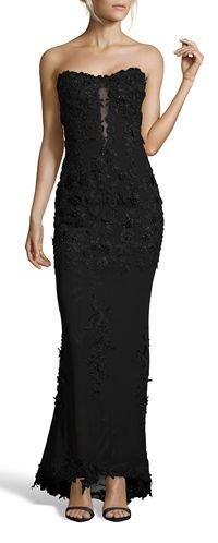 Issue Floral Applique Mesh Strapless Maxi Gown