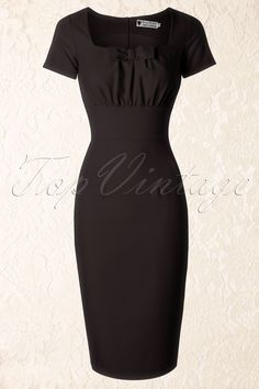 Daisy Dapper - TopVintage exclusive ~ 50s Debbie Pencil Dress in Black